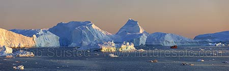 Leaving Ilulissat IceFjord, Greenland, at dusk
