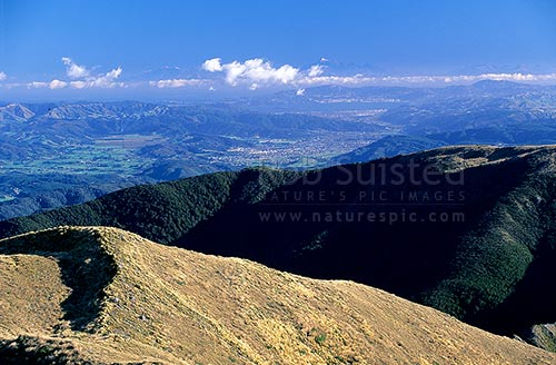 The Hutt Valley and Wellington from Mount (Mt) Alpha (1361m). Kaikoura Mountains in distance!, Tararua Forest Park, Upper Hutt District, Wellington Region, New Zealand (NZ) stock photo.