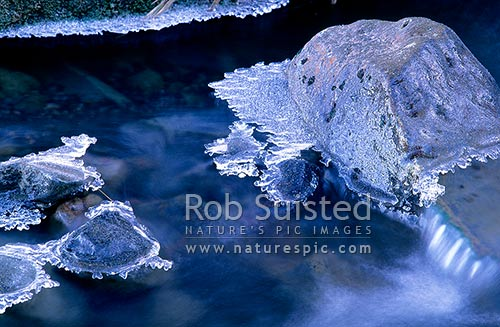 Icy winter stream, Mangatepopo stream, Tongariro National Park, New Zealand (NZ) stock photo.