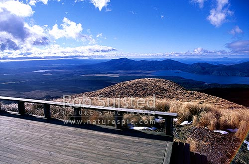The view from Ketetahi hut, Mount (Mt) Tongariro Northern Circuit track across Lake Rotoaira, Tongariro National Park, Taupo District, Waikato Region, New Zealand (NZ) stock photo.