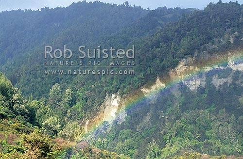 Rainbow above the Wanganui River, Whanganui National Park, Wanganui District, Manawatu-Wanganui Region, New Zealand (NZ) stock photo.