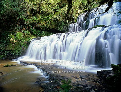 Purakaunui Falls, beautiful waterfall cascades, Catlins, Clutha District, Otago Region, New Zealand (NZ) stock photo.