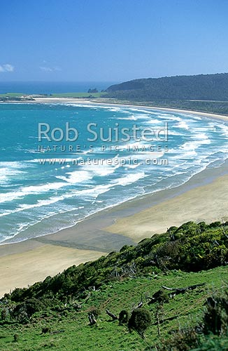 Tautuku Beach from Florence Hill lookout, Catlins, Clutha District, Otago Region, New Zealand (NZ) stock photo.