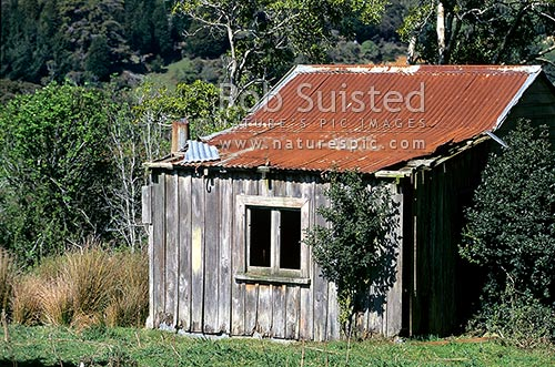 Old Farm wooden building with rusting iron roof,Catlins, Catlins, Clutha District, Otago Region, New Zealand (NZ) stock photo.