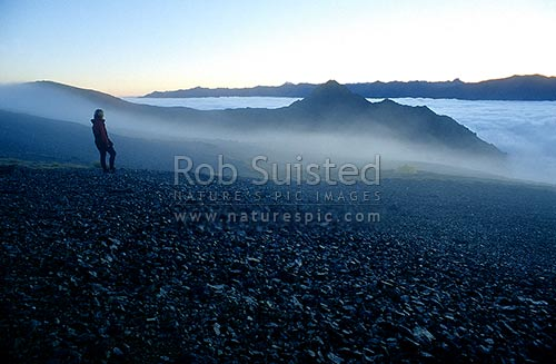 Early morning mist on Robert Ridge en route Lake Angelus. St Arnaud Range and Travers Valley beyond, Nelson Lakes National Park, Tasman District, Tasman Region, New Zealand (NZ) stock photo.