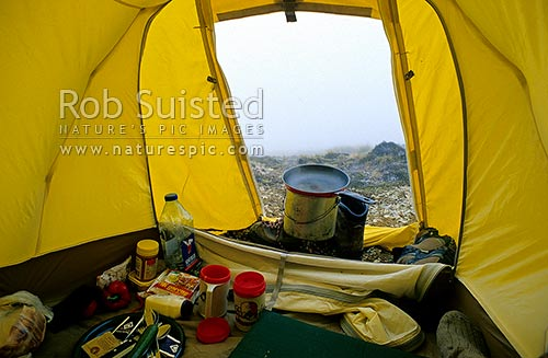 View from the tent - mist and tussock. Boiling the billy for tea, Nelson Lakes National Park, New Zealand (NZ) stock photo.