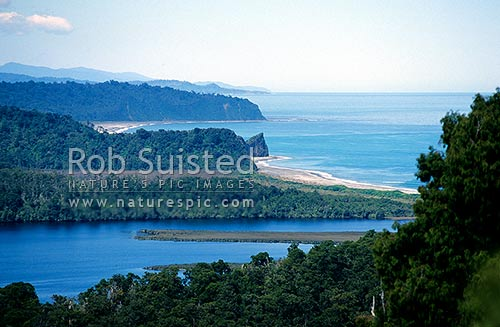 Three Mile Lagoon and Beach (right), and Five Mile Beach (left) from Okarito Trig track; looking South, Westland National Park, Westland District, West Coast Region, New Zealand (NZ) stock photo.