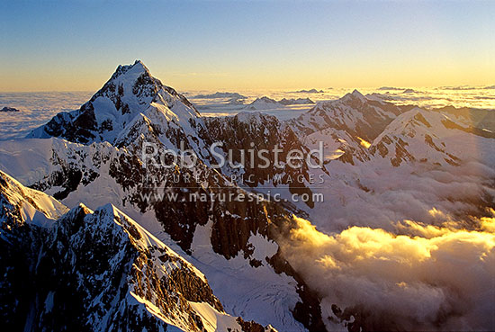 Looking south over Torres Peak (3060m left) to Mount (Mt) Cook/Aoraki (3754m). North Face of Mount (Mt) Hicks centre, Westland and Mount Cook National Parks, MacKenzie District, Canterbury Region, New Zealand (NZ) stock photo.