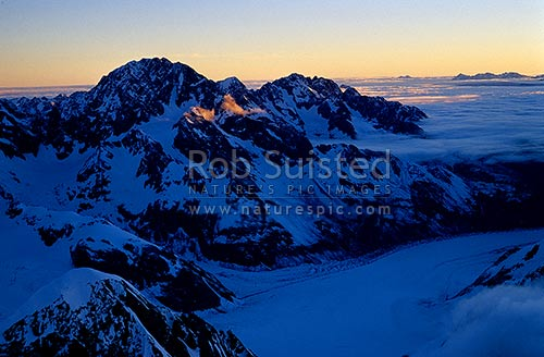 Looking down the Tasman Glacier, and across to the Malte Brun Range; Malte Brun (3155m, left), Aoraki / Mount Cook National Park, MacKenzie District, Canterbury Region, New Zealand (NZ) stock photo.