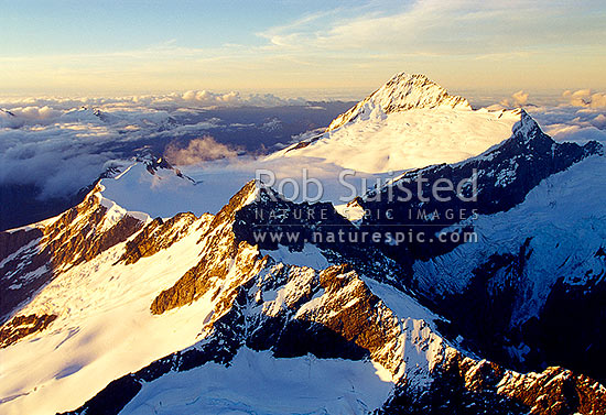 Looking NW over Avalanche Pk(2438m) and the Bonar Neve to Mount (Mt) Aspiring (3033m), Mount Aspiring National Park, Queenstown Lakes District, Otago Region, New Zealand (NZ) stock photo.
