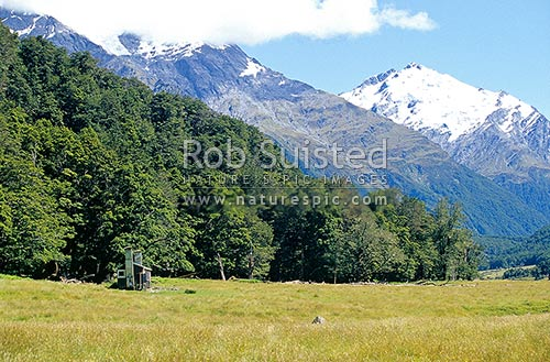 Cascade Hut in the West Matukituki River. Mount (Mt) Barff (2252m) at right. Mount Aspiring National Park, Mount Aspiring National Park, Queenstown Lakes District, Otago Region, New Zealand (NZ) stock photo.