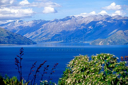 Lake Hawea. Looking towards the Hunter Valley at the head of the lake, Hawea, Queenstown Lakes District, Otago Region, New Zealand (NZ) stock photo.