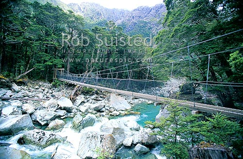 Bridge over the Routeburn River; Routeburn Great Walk. Hiking the Routeburn Track, Mount Aspiring National Park, Queenstown Lakes District, Otago Region, New Zealand (NZ) stock photo.