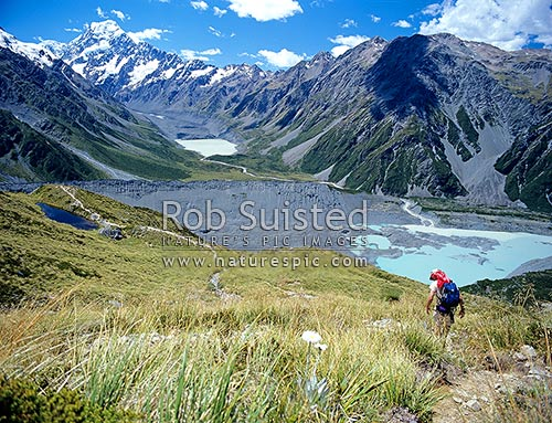 Mount (Mt) Cook / Aoraki (3754m) above the Hooker Valley, Hooker Lake and Mueller Lake. Walker descending from Mueller hut towards Sealy tarns. Sealy Range, Aoraki / Mount Cook National Park, MacKenzie District, Canterbury Region, New Zealand (NZ) stock photo.