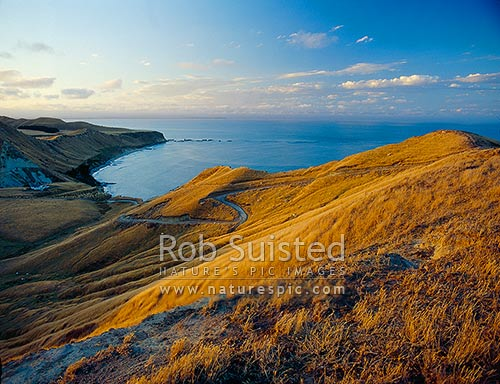 Overlooking Hawke Bay and Black Reef from Cape Kidnappers, Hawke's Bay, Hastings District, Hawke's Bay Region, New Zealand (NZ) stock photo.