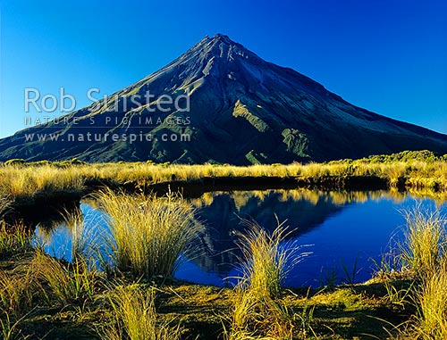 Mount Egmont/Taranaki (2518m) reflected in a mountain tarn on the Pouakai Range, Egmont National Park, Taranaki, New Plymouth District, Taranaki Region, New Zealand (NZ) stock photo.