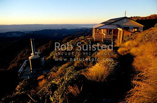 Brand new Powell Hut rebuilt after fire destroyed old one in May 1999, Mt Holdsworth, Tararua Forest Park, Masterton District, Wellington Region, New Zealand (NZ) stock photo.