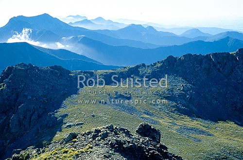 Looking NE over the Richmond Range from Mount (Mt) Richmond(1756m) at sunrise, Mount Richmond Forest Park, Marlborough District, Marlborough Region, New Zealand (NZ) stock photo.