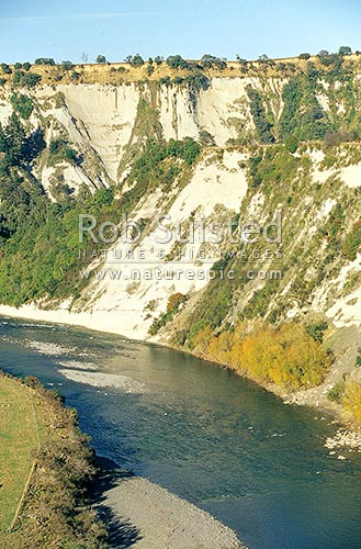 Papa sandstone cliffs above the Rangitikei River near Mangaweka, Mangaweka, Rangitikei District, Manawatu-Wanganui Region, New Zealand (NZ) stock photo.