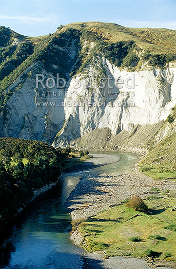 Rangitikei River near Mangaweka, with Papa sandstone cliffs, Mangaweka, Rangitikei District, Manawatu-Wanganui Region, New Zealand (NZ) stock photo.