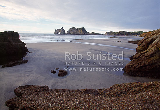 Wharariki Beach with Archway Islands; Puponga Farm Park, Farewell Spit, Golden Bay, Tasman District, Tasman Region, New Zealand (NZ) stock photo.