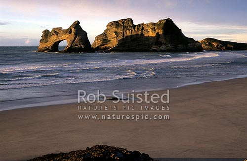 The Archway Islands, Wharariki Beach; Puponga Farm Park, Farewell Spit, Golden Bay, Tasman District, Tasman Region, New Zealand (NZ) stock photo.