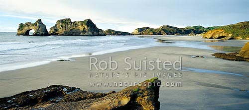The Archway Islands and Wharariki Beach; Puponga Farm Park, Farewell Spit, Golden Bay, Tasman District, Tasman Region, New Zealand (NZ) stock photo.
