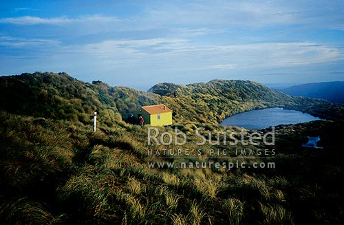 Old previous Mangahuka hut (1300m a.s.l.) and tarn on the Southern Main Range of the Tararua Range, Tararua Forest Park, Kapiti Coast District, Wellington Region, New Zealand (NZ) stock photo.