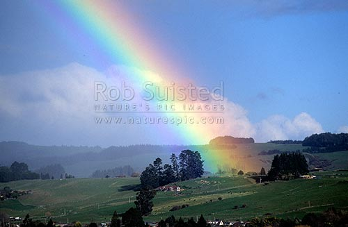 Rainbow on the outskirts of Rotorua, Rotorua, Rotorua District, Bay of Plenty Region, New Zealand (NZ) stock photo.