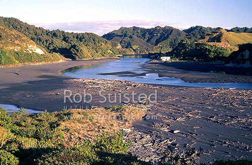 Tongaporutu town and river mouth, North Taranaki, New Plymouth District, Taranaki Region, New Zealand (NZ) stock photo.