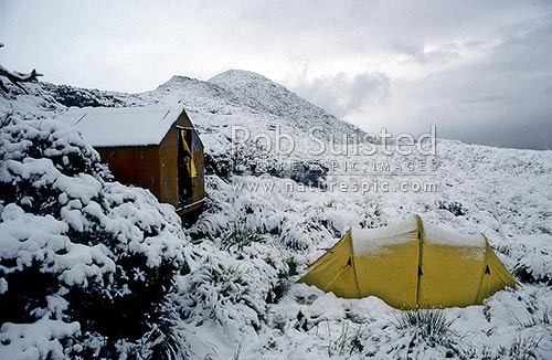Tarn bivvy and Olympus tent covered with unseasonal snow in summer. Ruahine Ranges, Ruahine Forest Park, Central Hawke's Bay District, Hawke's Bay Region, New Zealand (NZ) stock photo.