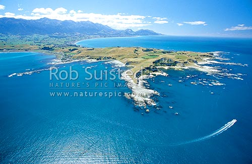 Aerial view of the Kaikoura Peninsula from the South east; late summer. Speed boat and wake lower right, Kaikoura, Kaikoura District, Canterbury Region, New Zealand (NZ) stock photo.