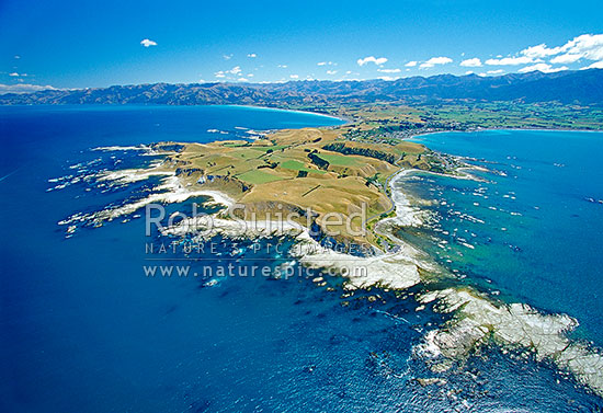 Aerial view of the Kaikoura Peninsula from the north east; late summer. Township in distance, Kaikoura, Kaikoura District, Canterbury Region, New Zealand (NZ) stock photo.
