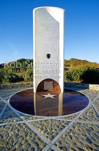 Kemal Ataturk memorial on Miramar Pen. walkway above Palmer Head, and entrance to Wellington Harbour, Wellington, Wellington City District, Wellington Region, New Zealand (NZ) stock photo.