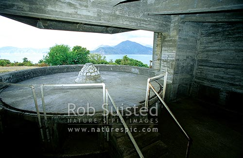 Second World War Gun Emplacement on the NE point of Maud Island. Te Hoire, Maud Island, Marlborough Sounds, Marlborough District, Marlborough Region, New Zealand (NZ).