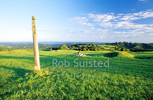 Historic remains of Ruapekapeka Pa, important battle of Maori Wars in 1846 showing earthworks, Bay of Islands, Far North District, Northland Region, New Zealand (NZ) stock photo.