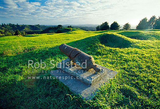 Historic remains of Ruapekapeka Pa, important battle of Maori Wars in 1846 showing earthworks (redoubts), Bay of Islands, Far North District, Northland Region, New Zealand (NZ) stock photo.