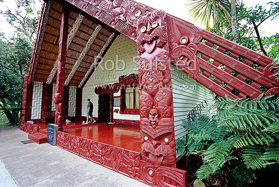 The Whare Runanga (Meeting house) at the Waitangi National Reserve, Bay of Islands, Far North District, Northland Region, New Zealand (NZ) stock photo.