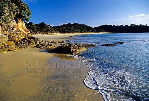 Tikotatahi Bay beach, South East Stewart Island, Stewart Island, Stewart Island District, Southland Region, New Zealand (NZ) stock photo.