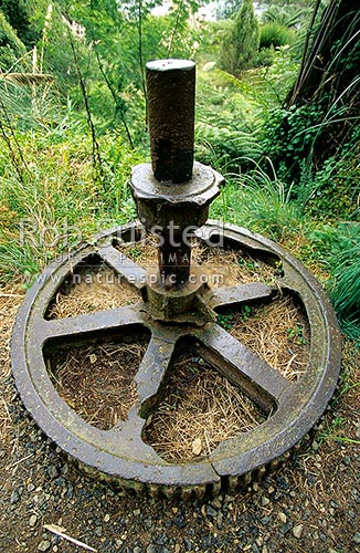 Old machinery from the Woodstock Battery at Historic Goldfields in Karangahake Gorge, Paeroa, Hauraki District, Waikato Region, New Zealand (NZ) stock photo.