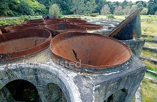 Historic Cyanide settling tanks at the Victoria Gold Battery. 10th biggest battery in the world, Waikino, Waihi, Hauraki District, Waikato Region, New Zealand (NZ) stock photo.