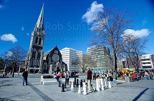 Christchurch News Photo: Cathedral Square And Christchurch Cathedral. Giant Chess