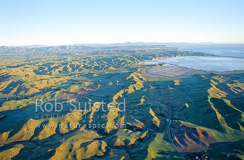 Lower Awatere country and Lake Grassmere. Marlborough Sounds beyond, Marlborough, Marlborough District, Marlborough Region, New Zealand (NZ) stock photo.