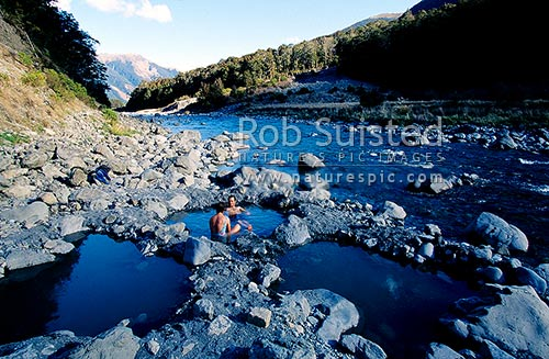 Natural hot pools at Sylvia Flat, Lewis Pass, Lewis Pass, Hurunui District, Canterbury Region, New Zealand (NZ) stock photo.