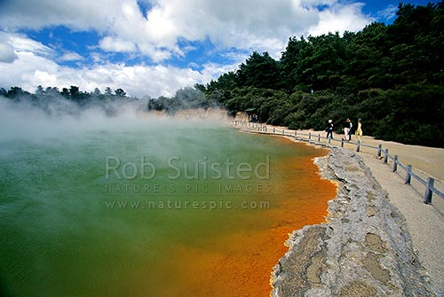 The famous hot spring 'Champagne Pool', Waiotapu Geothermal Area, near Rotorua. Steam rising from water, Rotorua, Rotorua District, Bay of Plenty Region, New Zealand (NZ) stock photo.