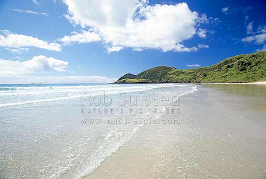 Spirits Bay, Cape Reinga. Hoopers Point, Far north, Northland, Far North District, Northland Region, New Zealand (NZ) stock photo.