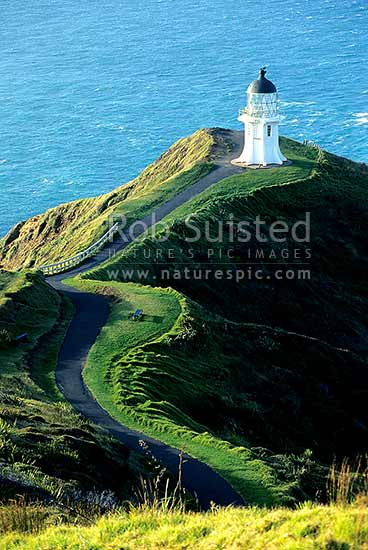 Cape Reinga lighthouse, Far north, Northland, Far North District, Northland Region, New Zealand (NZ) stock photo.