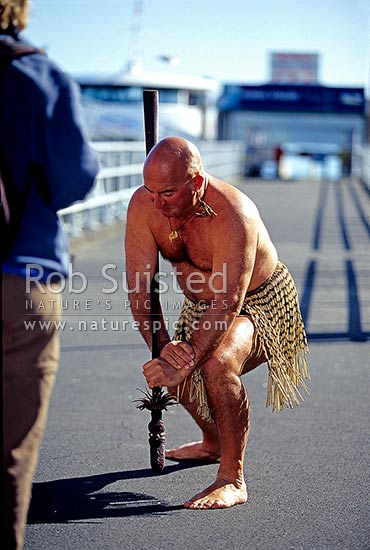 Traditional Maori warrior challenge / welcome, before a Bay of Islands boat tour - King's Cruises, Bay of Islands, Far North District, Northland Region, New Zealand (NZ).