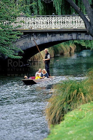 Punting on the Avon River. Central Christchurch, Christchurch, Christchurch City District, Canterbury Region, New Zealand (NZ) stock photo.