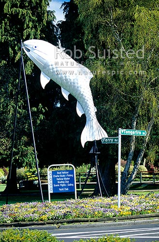 Giant trout sculpture, Taupo, Taupo District, Waikato Region, New Zealand (NZ).
